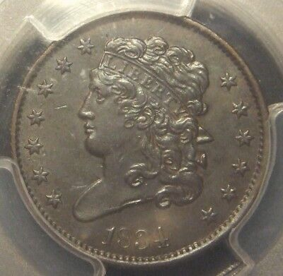 1834 Classic Head Half Cent, Pcgs Graded Au58 With Cac Label