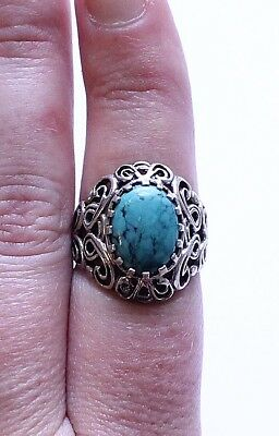 Vintage Sterling Silver 925 & Turquoise Filigree Ring