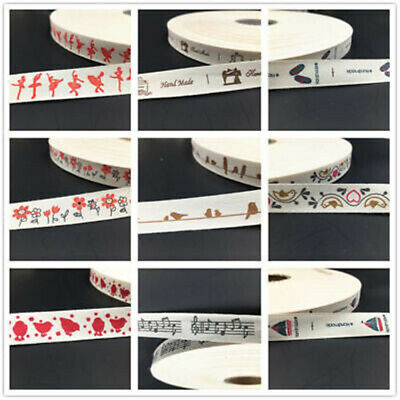 5-100y Printed Cotton Ribbon 15mm Handmade Gift Present Package DIY Sewing Craft