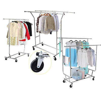 Single/Double Commercial Grade Portable Cloth Rolling Garment Rack Hanger Holder