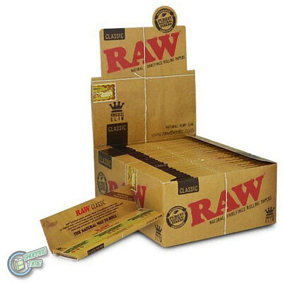 50 x 50 RAW King Size Slim Classic Rolling Paper Cigarette Tobacco Filter Papers