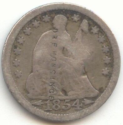 1854 Seated Liberty Half Dime,Counterstamp DR E HONSINCE,True Auction,No Reserve