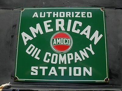 Authorized American Oil Company Station porcelain sign AMOCO metal garage