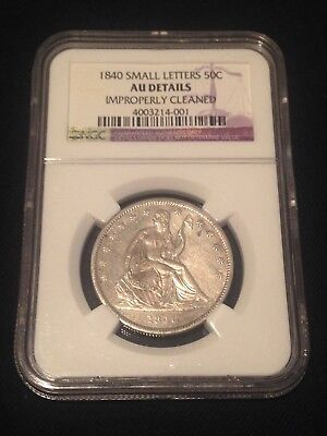 1840 Seated Liberty Half Dollar Small Letters Ngc Au Details Rare Coin This Nice
