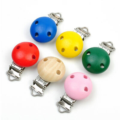 6 Colours Pacifier Clips Round Wooden Wood Colorful Infant Baby Soother Tools