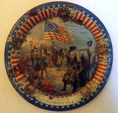 """Antique 5"""" C.D. Kenny Tin Litho Tip Tray Washington at Valley Forge c1910s"""