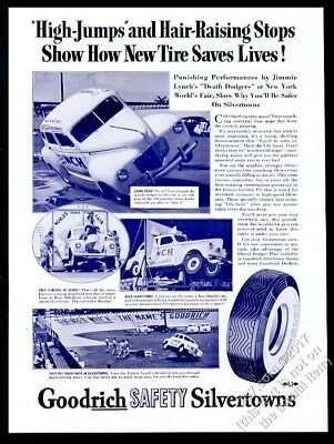 1940 Jimmie Lynch Death Dodgers stunt car driving act photo Goodrich tires ad