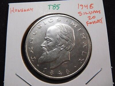 INV #T85 Hungary 1948 Silver 20 Forint