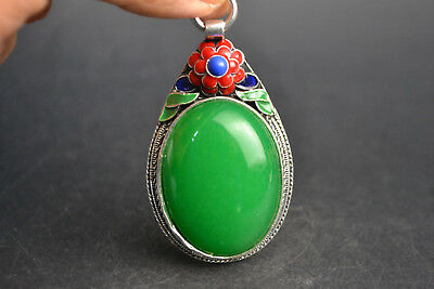 Vintage China Style Decor Old Green JadeTibet Silver Delicate Noble Pendant