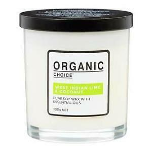 ORGANIC CHOICE PURE SOY WAX & ESSENTIAL OILS: WEST INDIAN LIME & COCONUT: 200g