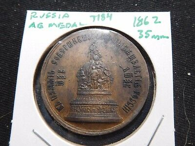 INV #T184 Russia 1862 1000 Years of Russian State AE Medal 35mm