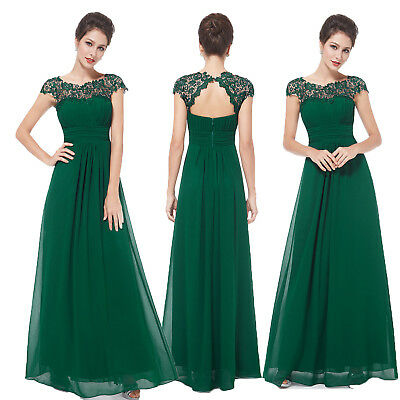 Ever-Pretty New Lace Long Bridesmaid Dresses Formal Party Green Dress Evening
