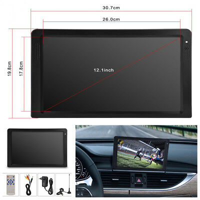 Car 12'' TFT LED HD Digital Analog TV ATSC Television Support MKV/MP3/MP4/MOVAVI