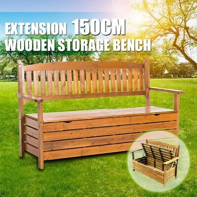 Wooden Outdoor Garden Storage Bench Chair Box 3 Seat Chest Furniture