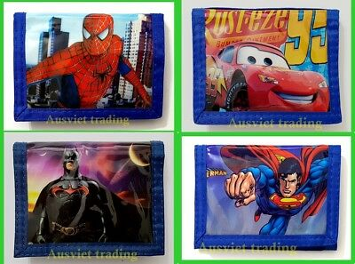 new Spiderman Batman Cars Superman Wallet boys kids cartoon coin purse 3-fold