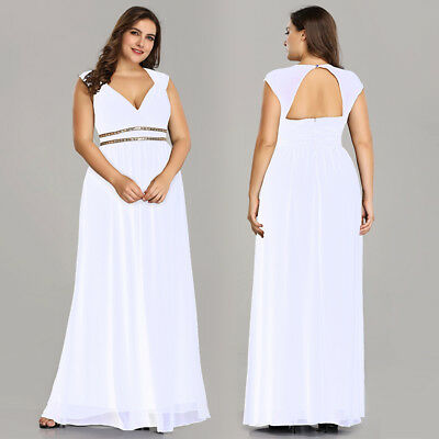 Ever-Pretty Long Evening Formal Party Ball White Prom Bridesmaid Dress Size 4-16