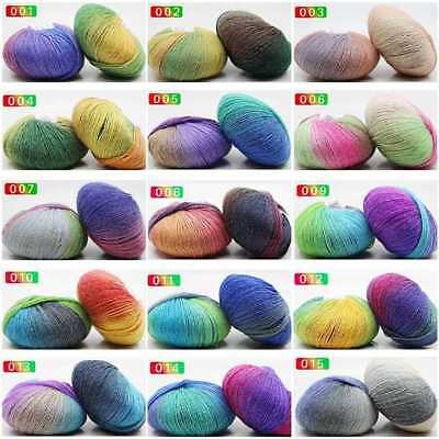 Soft Cashmere Baby Wool 50g Ball Rainbow Colorful Knitting Crochet Yarn CraftDIY