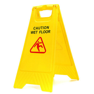 Caution Wet Floor - Folding Safety Sign Cleaning Slippery Warning Bright Yellow