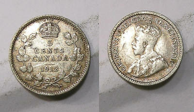 1912 Canada Sterling Silver 5 Cents  Inv#307-30