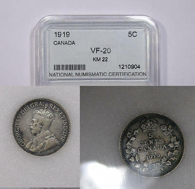 1919 Canada Sterlng Silver 5 Cents Inv#307B-6