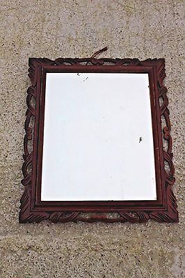 Beautiful Large Antique Hand Carved Sculpted Wooden Mirror Wood