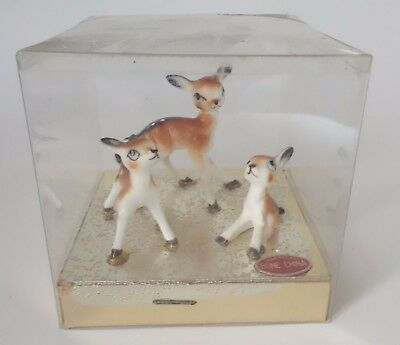 Vintage Deer Family Mother Fawn Miniature Figurine Set Inarco Japan Christmas