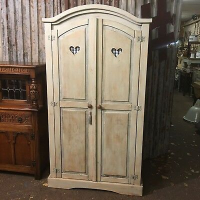 A Vintage Painted Wardrobe Cupboard Shelves Storage Shabby Chic Distressed