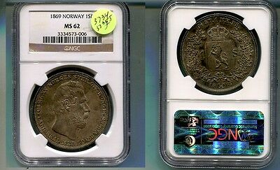 1869 Norway Specie Daler Coin Ms62 3734J Finest Known