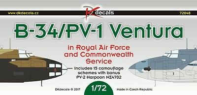 1/72 Decals by DK; Lockheed B-34, PV-1 Ventura in Commonwealth Service