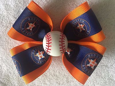 "Girls Hair Bow 4"" Wide Houston Astros Blue Orange Flatback French Barrette"