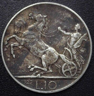 Italy 1927 Silver 10 Lire  Km#68.1  Choice Extremely Fine  Better Date!