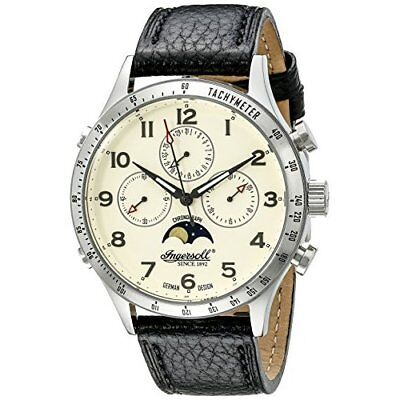 Ingersoll unisex Mechanical Watch with White Dial Chronograph Display and Black