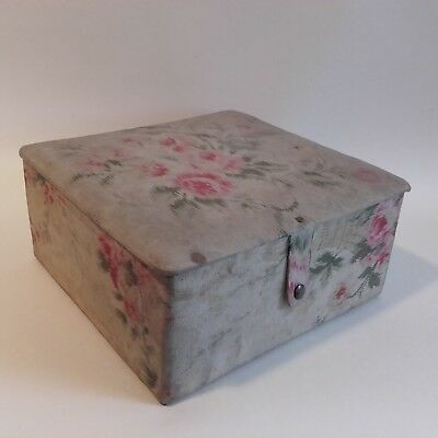 Antique,  French Paris Fabric Box with Faded Roses / Boudior Box.