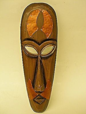 """Vintage Wooden African Wall Mask With Hammered Copper Plates 15"""" Wood Africa"""