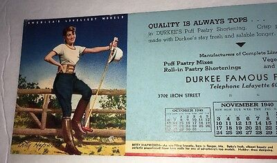 Polo Playing Sexy Pin Up Girl Blotter Durkee Foods Chicago 1940 Calendar