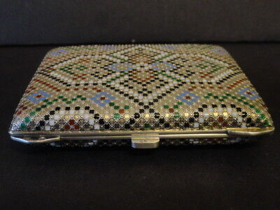 Antique silver cloisonne enamel cigarette case in the Russian style