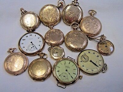 Vintage Lot Of  Beautiful Gf Gold Filled Pocket Watches Not Working For Parts