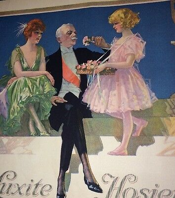 Luxite Hosiery Ad Incredible Art By C Everett Johnson 1920s Couple W Cute Kid
