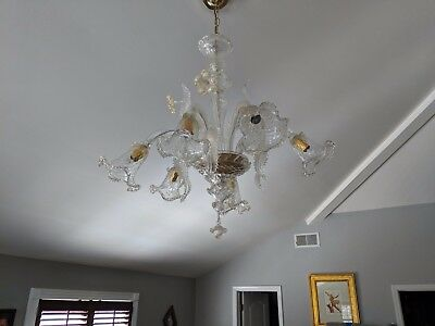 Vintage Murano Glass Chandelier Hand Blown Glass 24KT Gold Infused 6 Arms as is