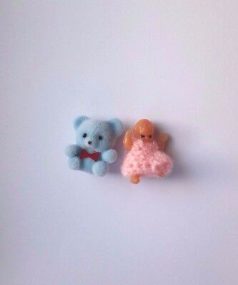 Dolls House Miniatures : Set of Two Toys - Teddy & Dolly : 12th scale