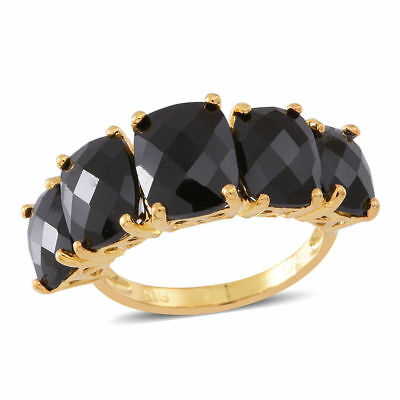TJC Boi Ploi Black Spinel 5 Stone Ring in 14K Gold Over Sterling Silver 14 Ct.