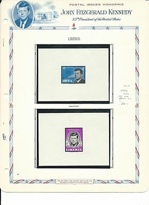 Liberia Collection, John F. Kennedy on 15 White Ace Pages, Mint NH, 414, C160++