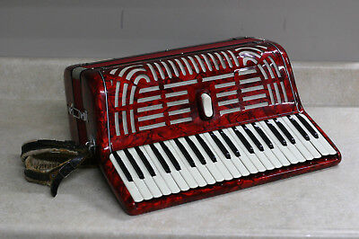 Vintage 1950s Melodiana Piano Accordion Pearlescent Red 120 Bass w/ Case