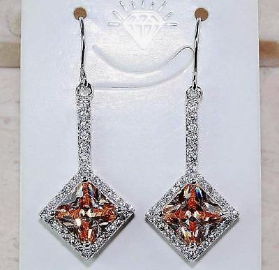 4CT Padparadscha Sapphire 925 Solid Sterling Silver Earrings Jewelry, T5-1