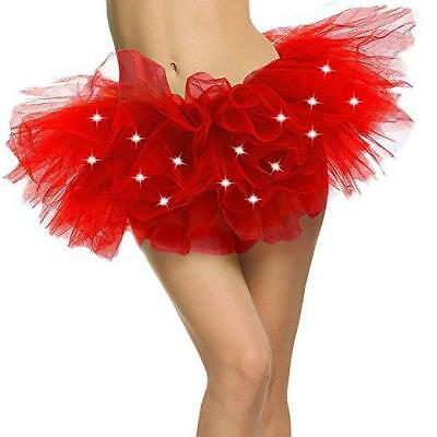 24aa5f214 Women's LED Light Up Neon Tulle Tutu Skirt 8 Layered Costume Party Dance  Queen