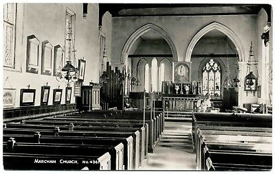 Early Real Photo Postcard . Marcham Church . Oxfordshire