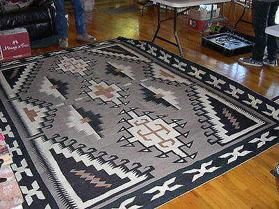 """Two Grey Hills Navajo rug by Ruth Tom Ben   86 1/2"""" by 113 1/2 [over 7' x 9']"""