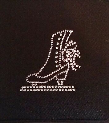 Sparkly Ice Skating Dress Boot (Pink) Iron On Hotfix Diamante Transfer