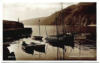 EARLY REAL PHOTO POSTCARD . THE HARBOUR . CLOVELY . CORNWALL . c1926