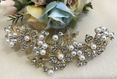 Beautiful gold tone bridal wedding rhinestone pearl Hair comb accessories 9175